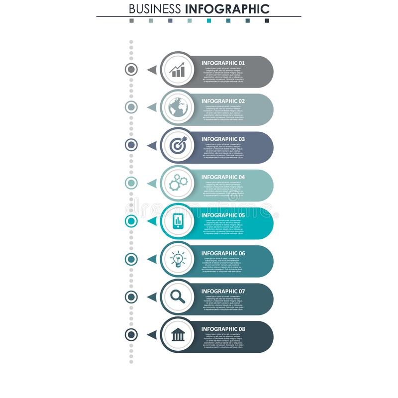 企业数据,图 图表、图与8步,战略、选择、零件或者过程的抽象元素 向量 库存例证