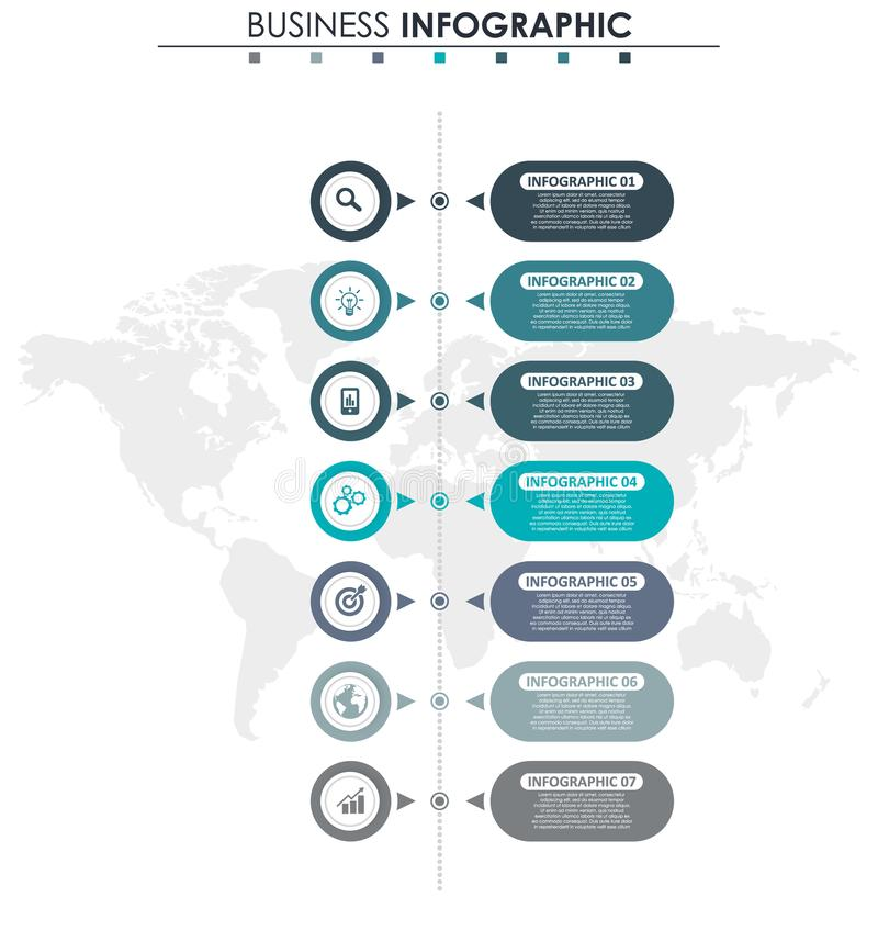 企业数据,图 图表、图与7步,战略、选择、零件或者过程的抽象元素 向量 皇族释放例证