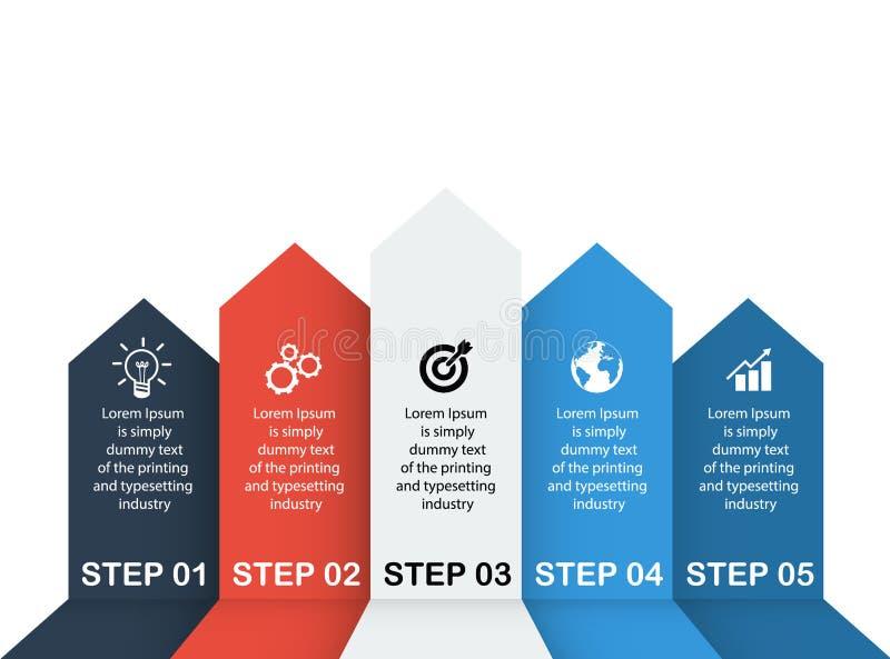 企业数据,图 图表、图与5步,战略、选择、零件或者过程的抽象元素 向量 向量例证