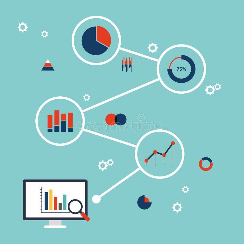 企业数据逻辑分析方法infographic平的设计 皇族释放例证