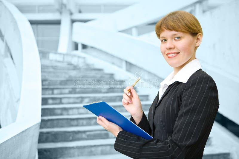 企业文件夹妇女 免版税库存照片