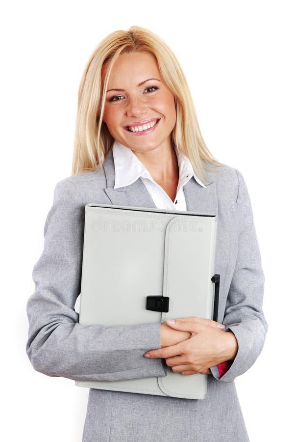 企业文件夹暂挂妇女 免版税库存图片