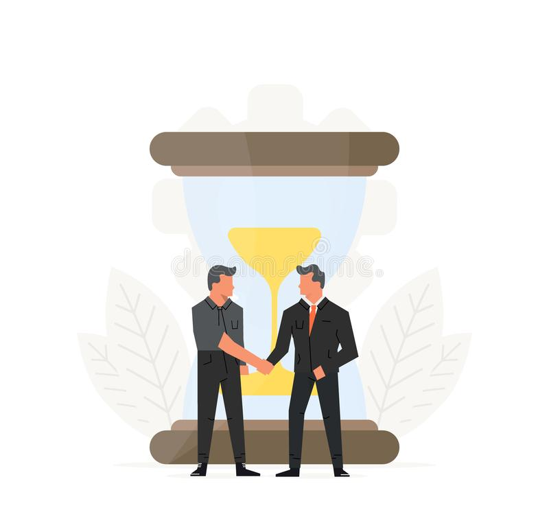 企业时间安排例证 商人在滴漏前做一个合同 小人民在大附近站立 库存例证