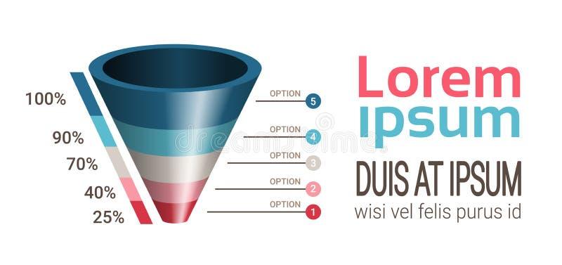 企业时间安排工艺卡片infographics用于介绍和工作流布局的漏斗模板用图解法表示,网 皇族释放例证