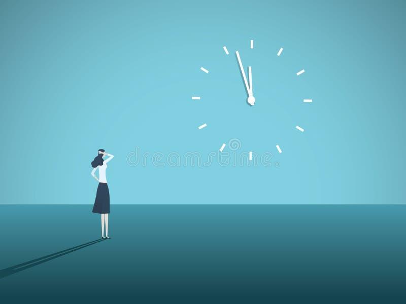 企业最后期限与凝视在墙壁上的一个时钟的女实业家的传染媒介概念 重音的标志在工作,管理 皇族释放例证