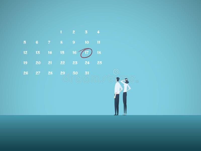 企业最后期限与看日历的男人和妇女的传染媒介概念 项目管理,里程碑的标志 向量例证