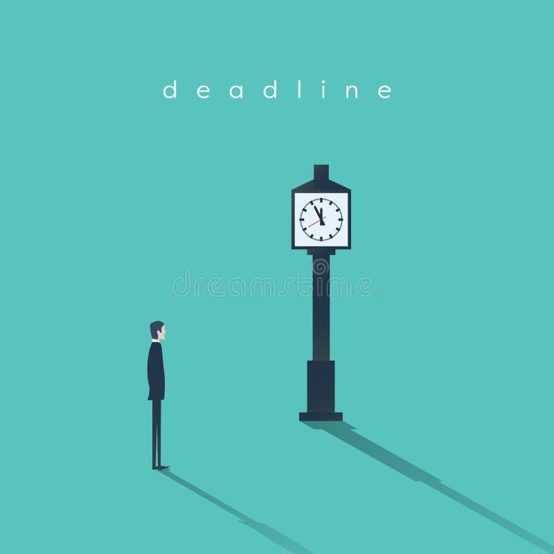 企业最后期限概念与商人和时钟的传染媒介背景 项目管理摘要例证 皇族释放例证