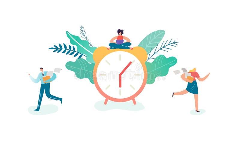 企业最后期限概念 超时商人和女实业家字符在工作 时间管理,后工作 向量例证