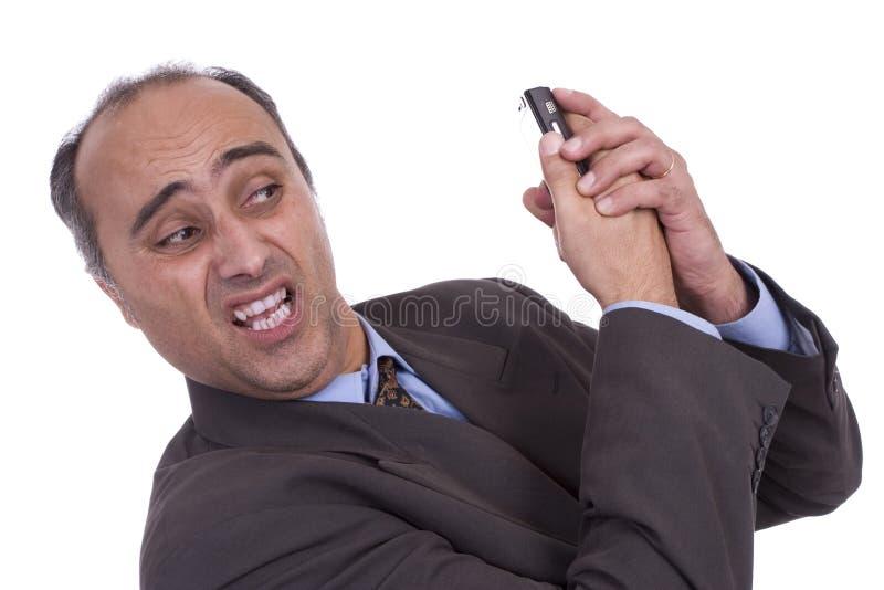 企业有移动电话的论述人 免版税库存照片