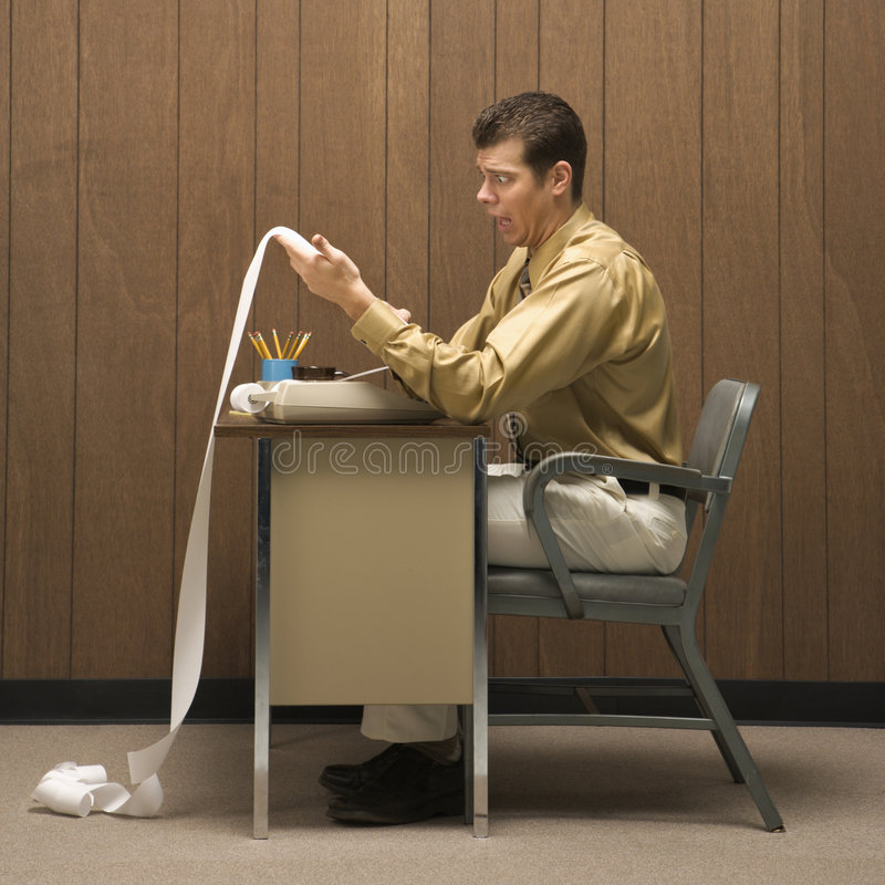 企业服务台人减速火箭的场面 免版税库存图片