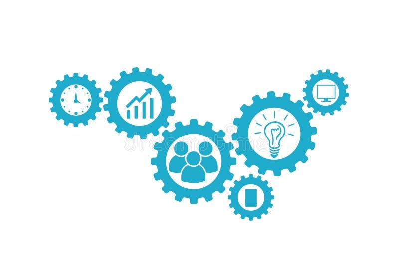 企业机制概念 与被连接的齿轮和象的抽象背景战略的,研究,概念 向量 皇族释放例证