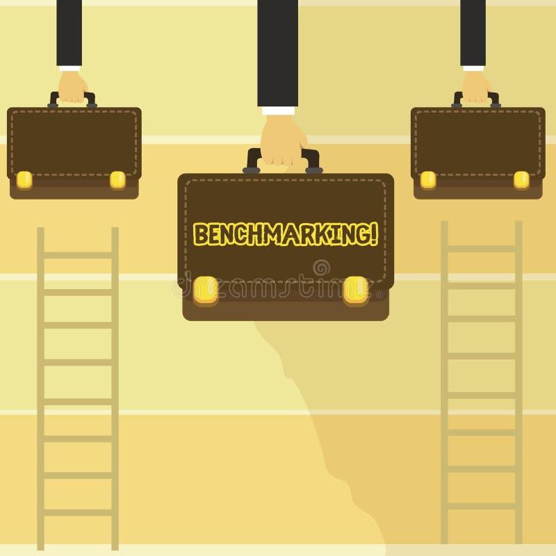词文字文本基准点 企业概念为与标准或比分相比评估某事三个人 向量例证