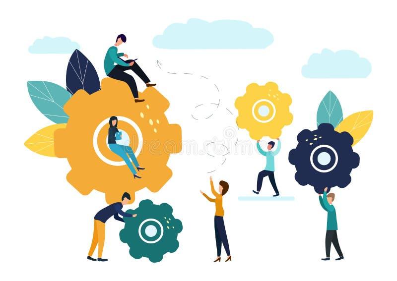 企业概念传染媒介例证,小人通信机制,企业机制,参与事务人们 向量例证