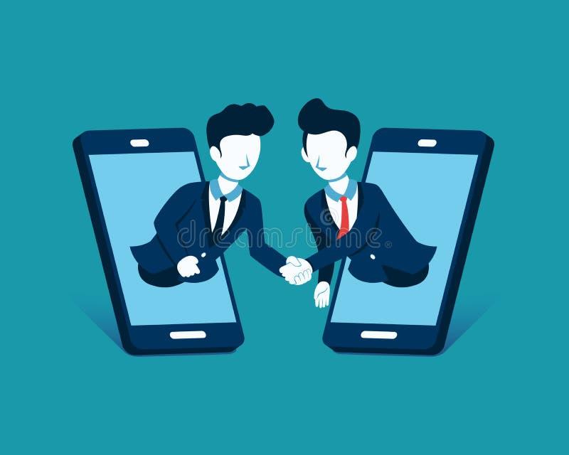 企业概念传染媒介握手的例证商人通过显示巧妙的电话 皇族释放例证