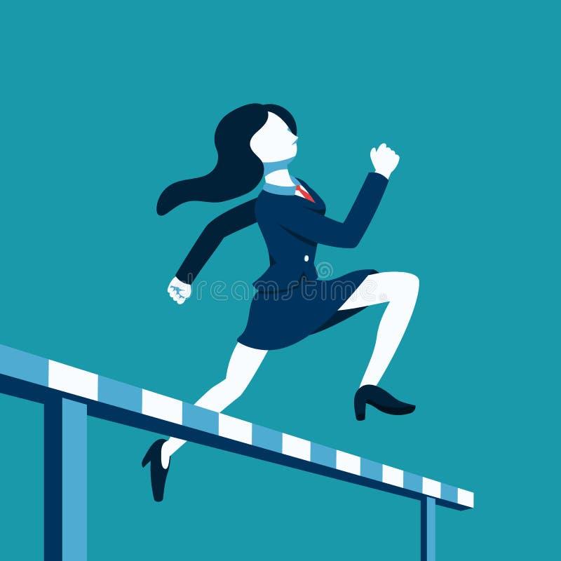 企业概念传染媒介跳过跨栏赛跑的例证女实业家 向量例证