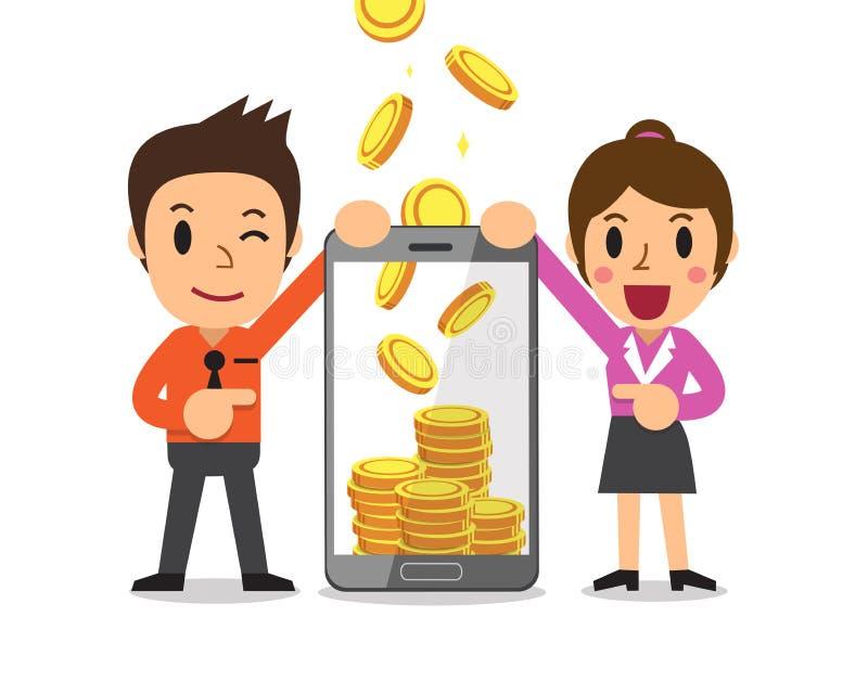 企业概念动画片智能手机帮助挣钱的商人 库存例证