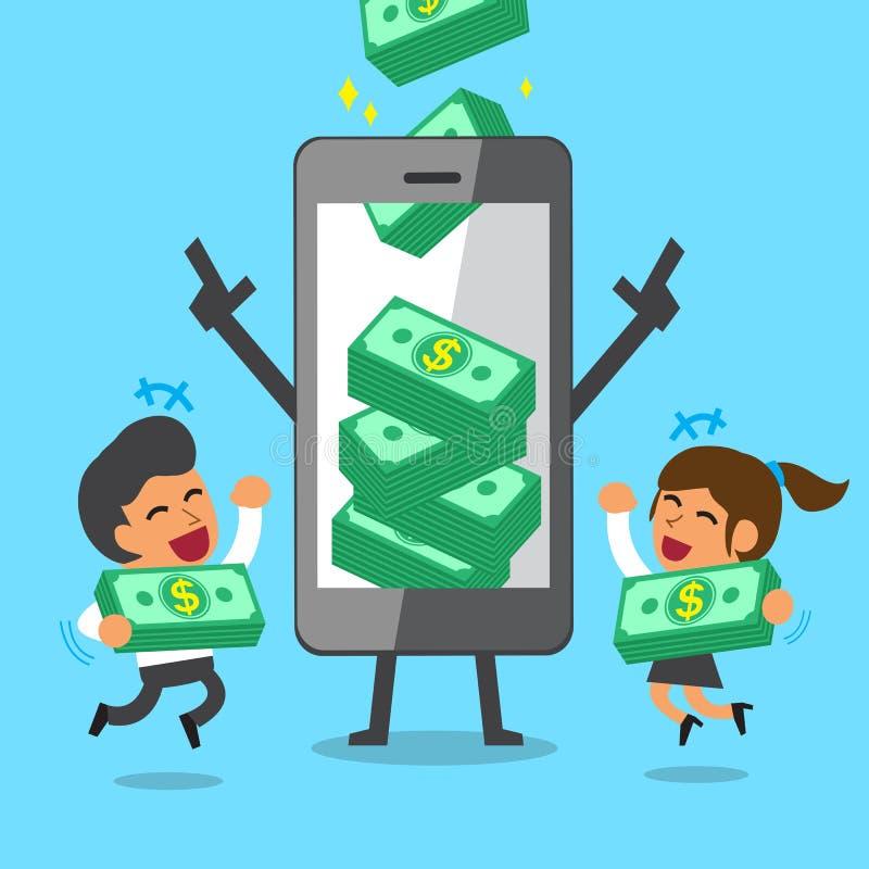 企业概念动画片智能手机帮助赢得金钱堆的企业队 向量例证