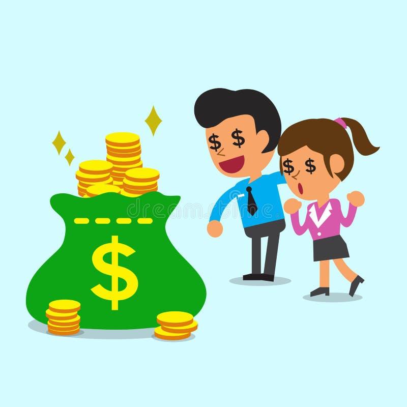 企业概念商人和女实业家发现大量金钱 向量例证