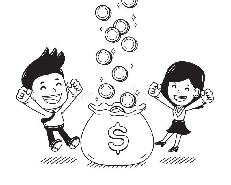 企业概念商人和女实业家收入金钱一起导航动画片例证 向量例证