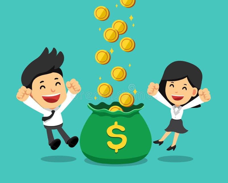 企业概念商人收入金钱传染媒介动画片illustrationBusiness概念商人和女实业家收入金钱 库存例证