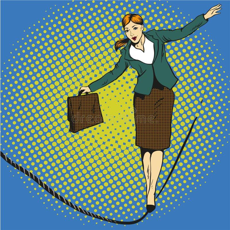 企业概念在减速火箭的可笑的流行艺术样式的传染媒介例证 在紧的绳索的女实业家步行 皇族释放例证