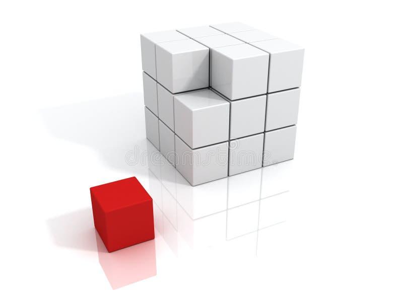 企业概念多维数据集领导先锋红色唯一 向量例证