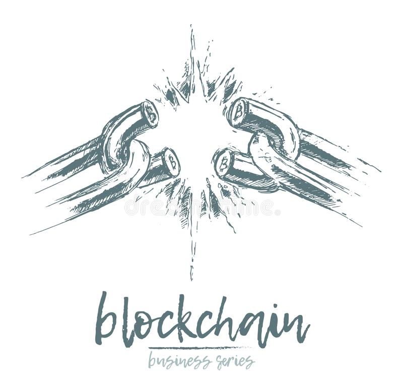 企业概念打破的链blockchain传染媒介 向量例证