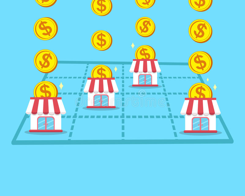 企业概念挣与特权商店的金钱 皇族释放例证