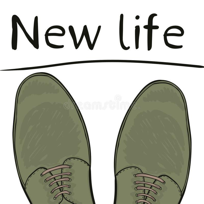 企业概念新的生活 在鞋子的脚在路 选择做 向量 皇族释放例证