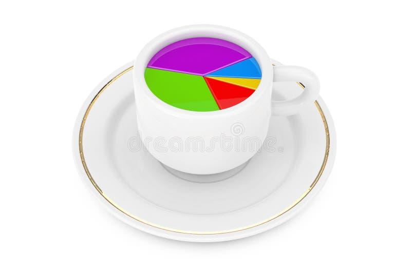 企业概念查出的成功白色 在早晨咖啡杯的圆形统计图表 3d关于 向量例证