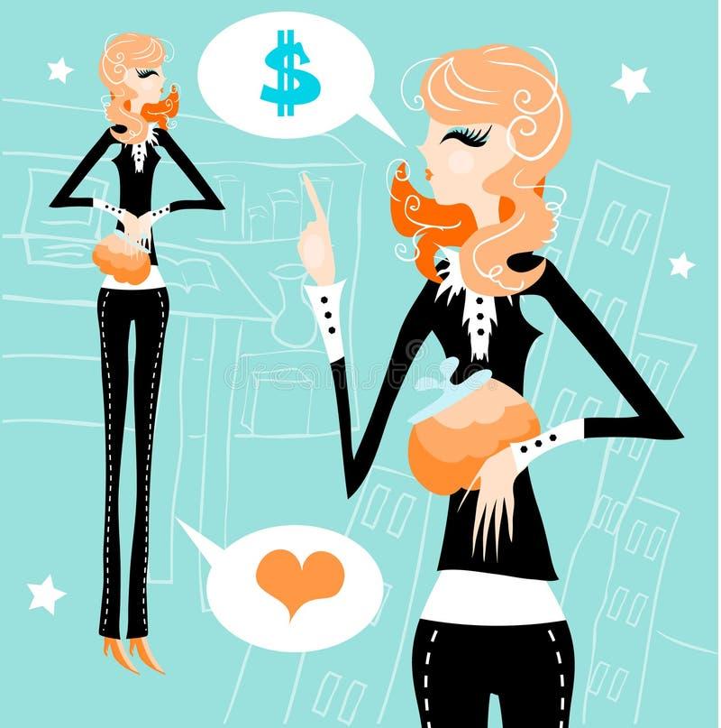 企业概念爱货币妇女工作 皇族释放例证