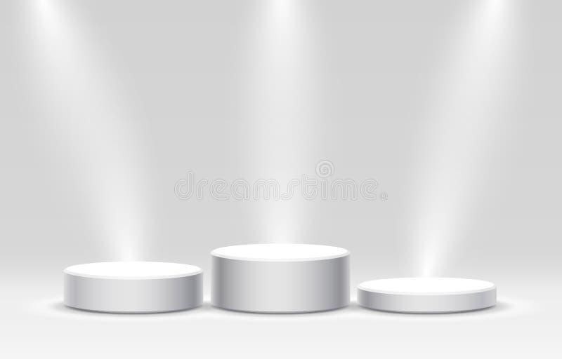 企业概念的白色优胜者指挥台,指挥台设置了对象, 库存例证
