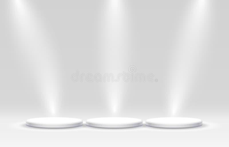 企业概念的白色优胜者指挥台,指挥台设置了对象 皇族释放例证