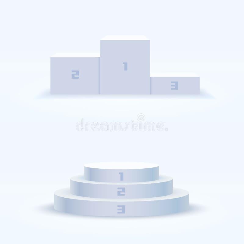 企业概念的白色优胜者指挥台 库存例证