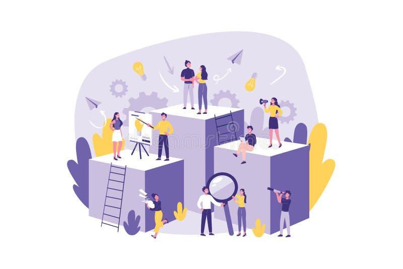 企业概念配合合作 准备好团结的干事大队工作,有目的 库存例证