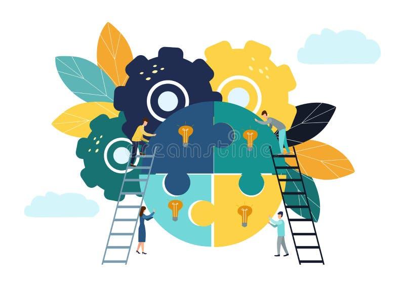 企业概念队隐喻 人连接的难题元素 传染媒介例证平的设计样式 配合的标志, 向量例证