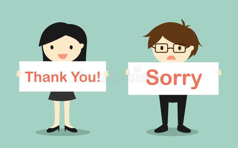 企业概念,举行的女商人'感谢您!'拿着'抱歉的'横幅的横幅和商人 向量例证