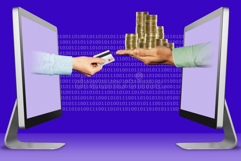 企业概念,从显示的两只手 有信用卡和硬币的手 3d?? 皇族释放例证