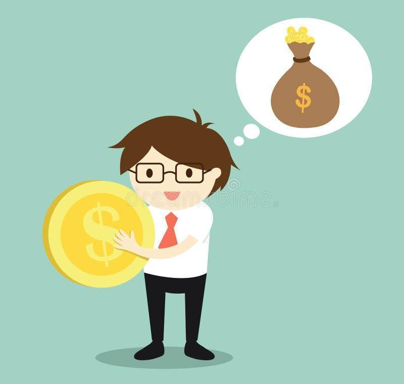 企业概念,商人考虑收入金钱/投资 皇族释放例证