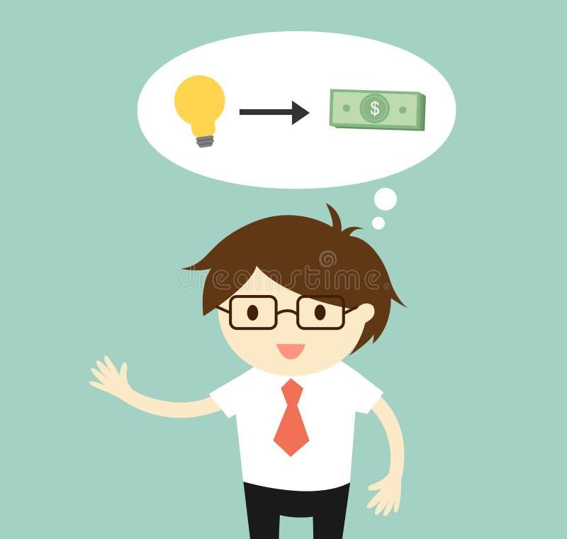 企业概念,商人认为由他的想法/起动挣金钱 向量例证