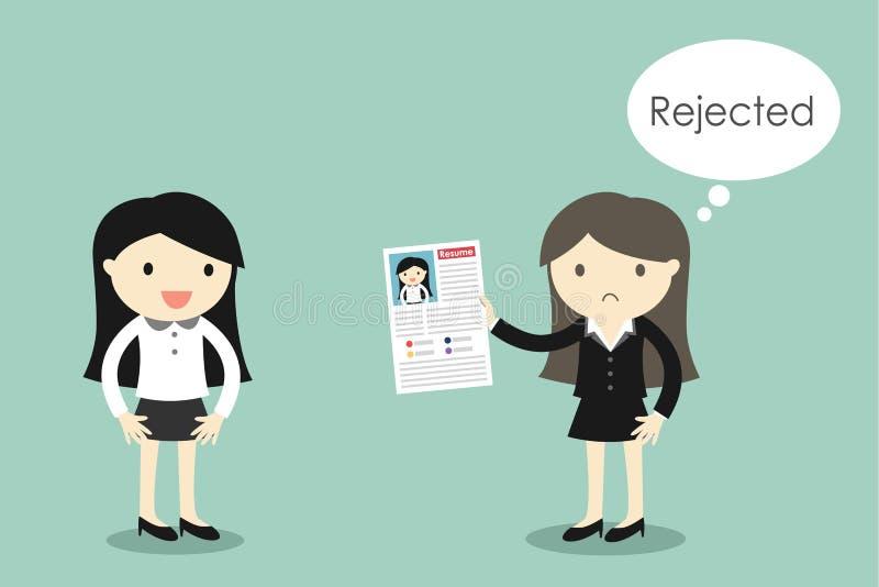 企业概念,女商人为考虑废弃物她的履历的工作,但是上司期望 向量例证