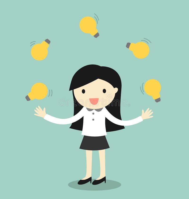 企业概念,玩杂耍许多电灯泡的女商人 漫画人物滑稽的以图例解释者铅笔笔设置了向量 向量例证