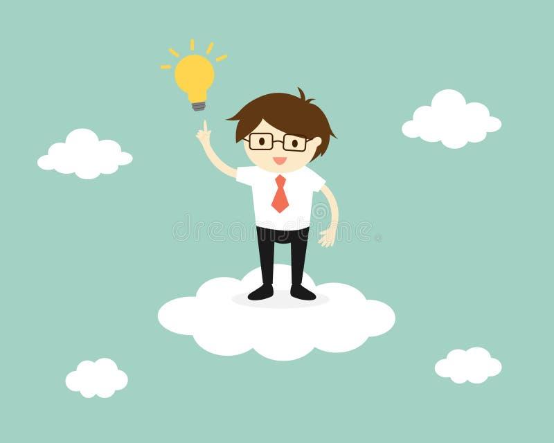 企业概念,站立在与一个电灯泡的云彩的商人 皇族释放例证
