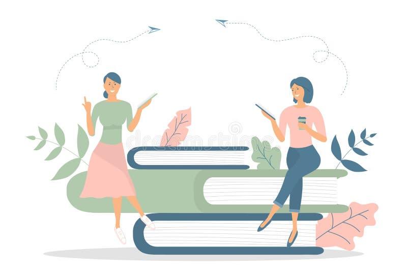 企业概念,队隐喻:人们坐书,并且读的书,食用一杯咖啡 传染媒介例证平的设计样式 库存例证