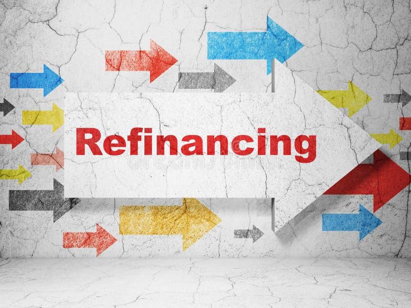 企业概念:与重新贷款的箭头在难看的东西墙壁背景 免版税库存图片