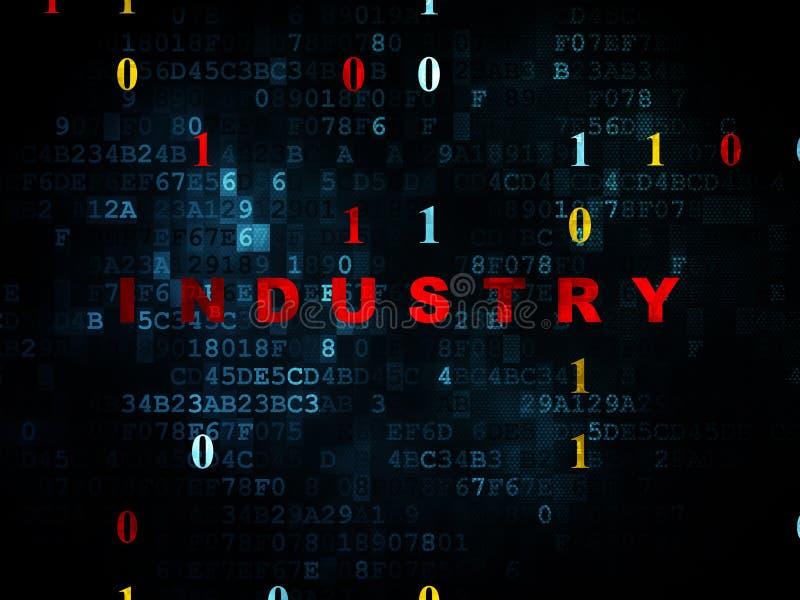 企业概念:在数字式背景的产业 向量例证