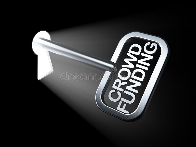 企业概念:在钥匙的人群资助 向量例证
