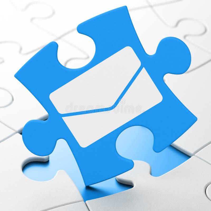 企业概念:在难题背景的电子邮件 免版税图库摄影