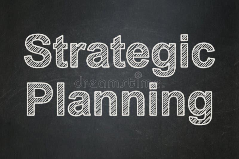 企业概念:在黑板背景的战略计划 免版税库存照片