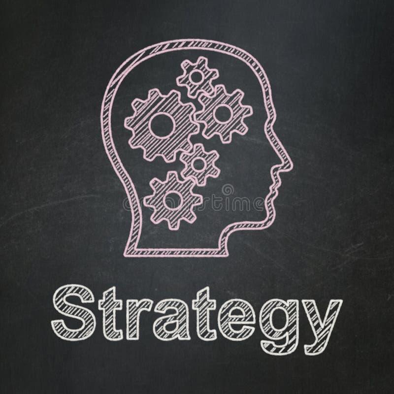 企业概念:有齿轮和战略的头 免版税库存照片